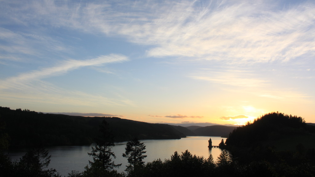 We arrived to this sun set at our Lake Vyrnwy hotel.