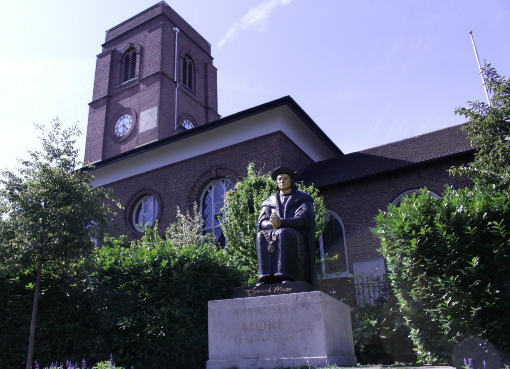 A forme resident, Thomas More, sitting in front of Chelsea Old Church where Henry James's funeral was held.