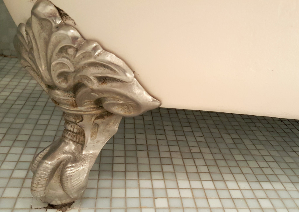 In the light tiled bathroom, the shining bathtub was lifted off the ground by silvery lion's paws.