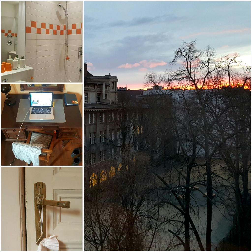Some details of the hotel: sunset from the window on the right. Left from up: bathroom, amazing desk and Art Nouveau detail in the room.