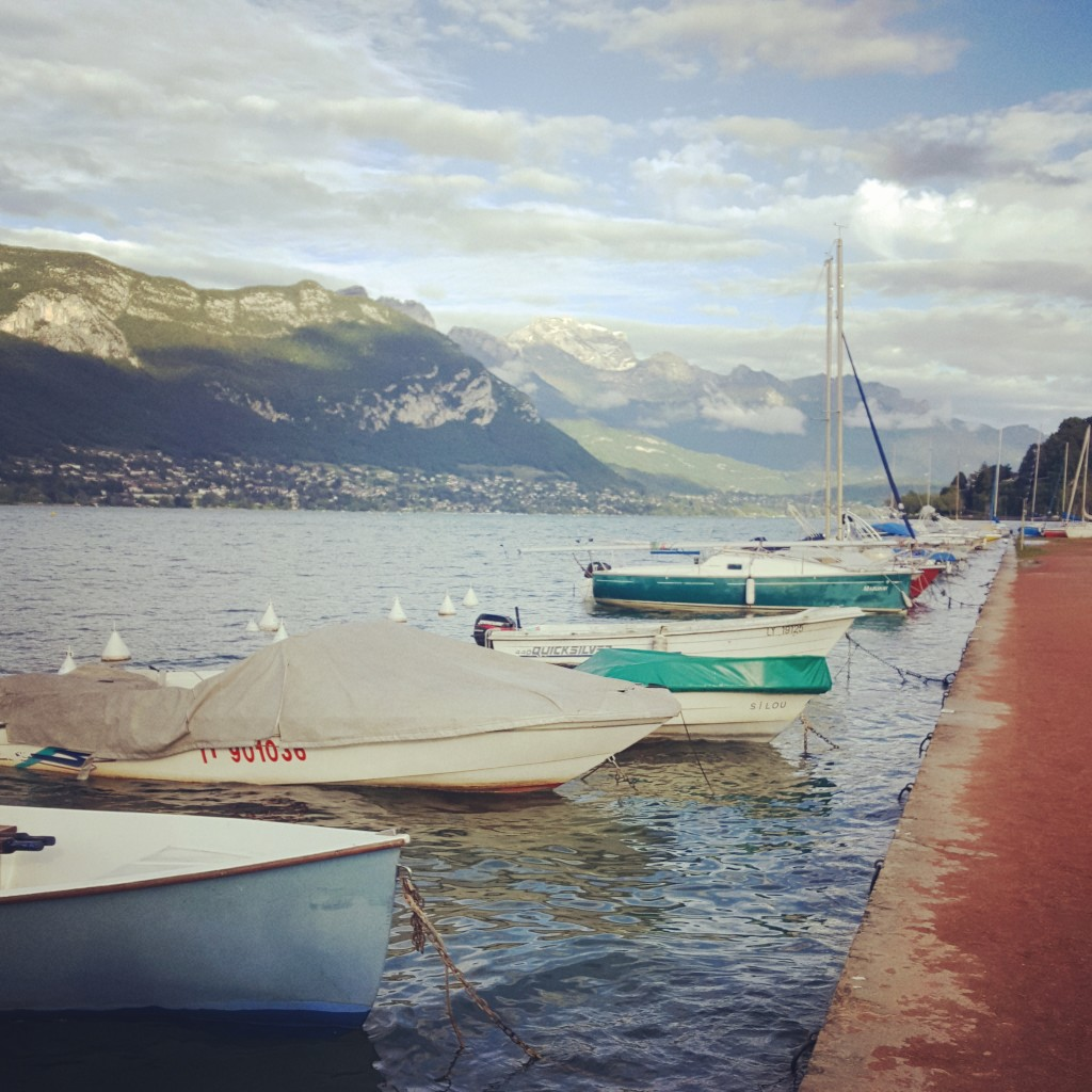 The rain ceased a bit and I had a romantic walk - alone - by Lake Annecy. This was the first time I was mesmerized by the Alps at the horizon and started to understand the lure this region has for people.