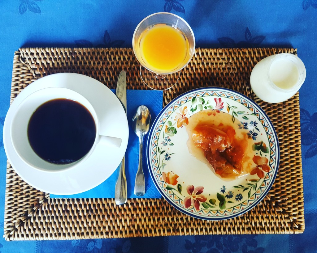 Apologies for my hype, but this was the best breakfast I had in France! Coffee, juice, home made yoghurt and stewed fruits. I also nibbled on some croissant, and my sidekick enjoyed the cakes on offer.
